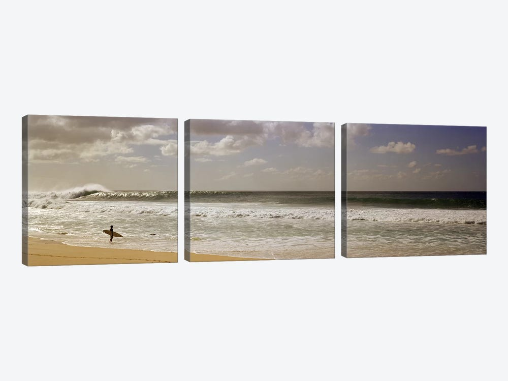 Lone Surfer, North Shore, O'ahu, Hawai'i, USA by Panoramic Images 3-piece Canvas Art
