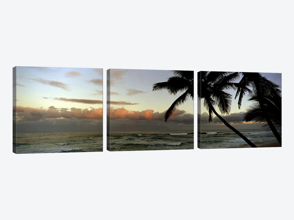 Cloudy Seascape Sunset by Panoramic Images 3-piece Canvas Print