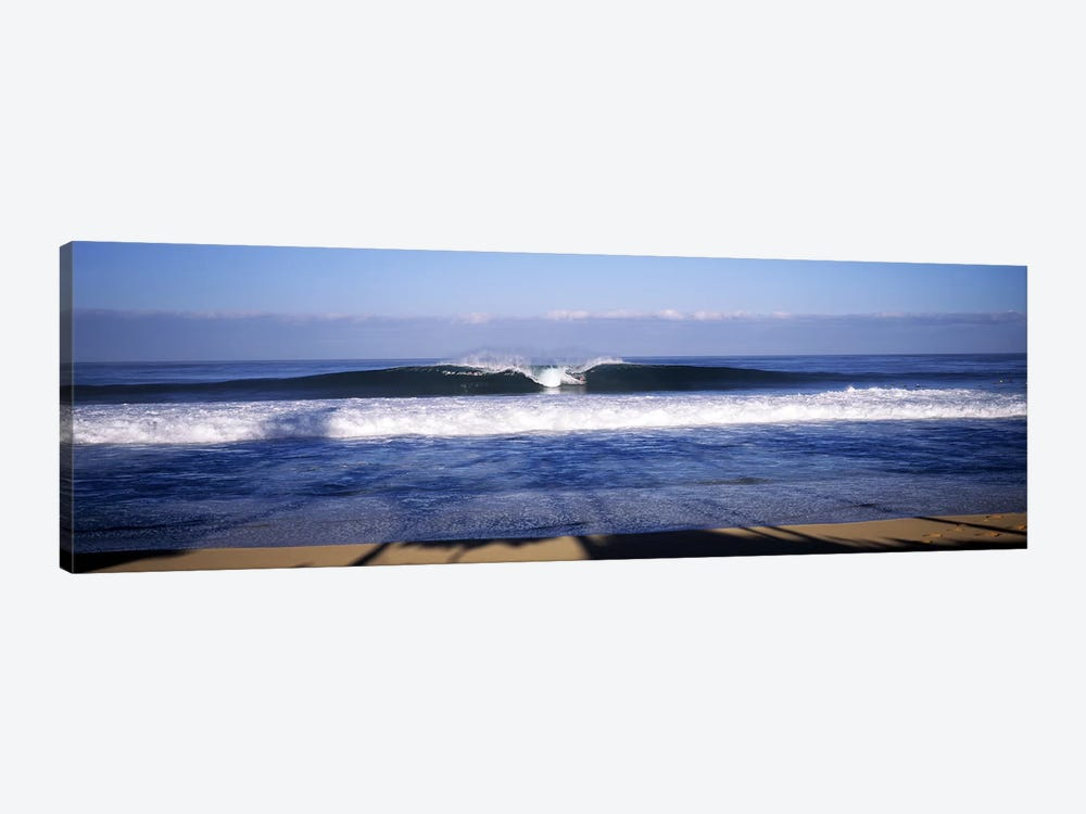 Distant View Of A Lone Surfer On A Cresting Wave, North Shore, Oahu, Hawaii, USA by Panoramic Images 1-piece Canvas Art