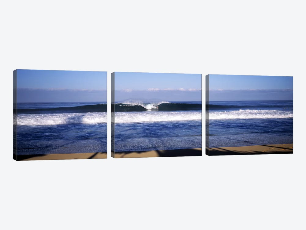 Distant View Of A Lone Surfer On A Cresting Wave, North Shore, Oahu, Hawaii, USA by Panoramic Images 3-piece Canvas Art