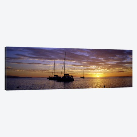 Moored Sailboats At Sunset, Tahiti, Windward Islands, Society Islands, French Polynesia Canvas Print #PIM7426} by Panoramic Images Canvas Wall Art
