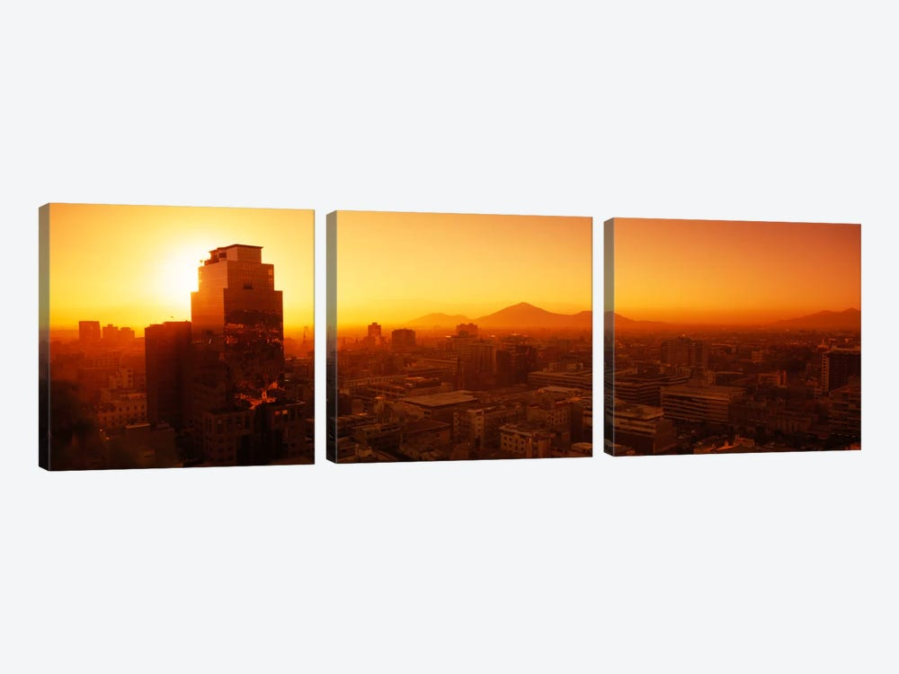 Majestic Orange Sunset, Santiago, Chile by Panoramic Images 3-piece Art Print