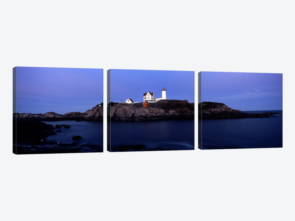 Cape Neddick Light (The Nubble), Nubble Island, York County, Maine, USA by Panoramic Images 3-piece Canvas Artwork