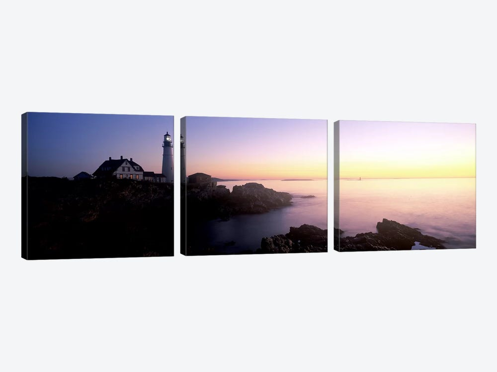 Lighthouse on the coast, Portland Head Lighthouse built 1791, Cape Elizabeth, Cumberland County, Maine, USA by Panoramic Images 3-piece Canvas Artwork