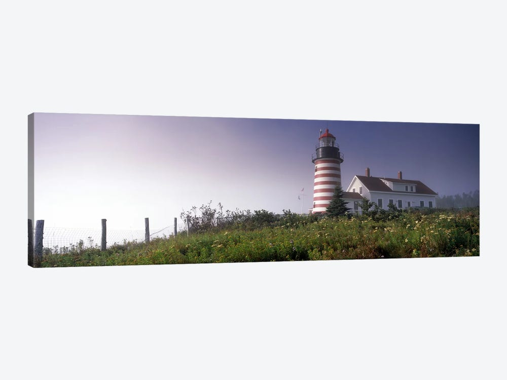 Low angle view of a lighthouse, West Quoddy Head lighthouse, Lubec, Washington County, Maine, USA by Panoramic Images 1-piece Art Print