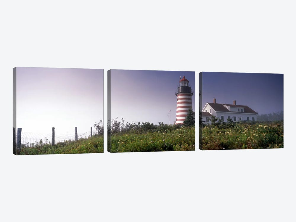 Low angle view of a lighthouse, West Quoddy Head lighthouse, Lubec, Washington County, Maine, USA by Panoramic Images 3-piece Canvas Print