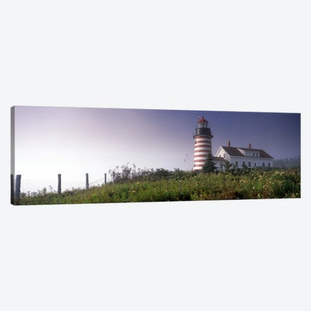 Low angle view of a lighthouse, West Quoddy Head lighthouse, Lubec, Washington County, Maine, USA Canvas Print #PIM7435} by Panoramic Images Canvas Print