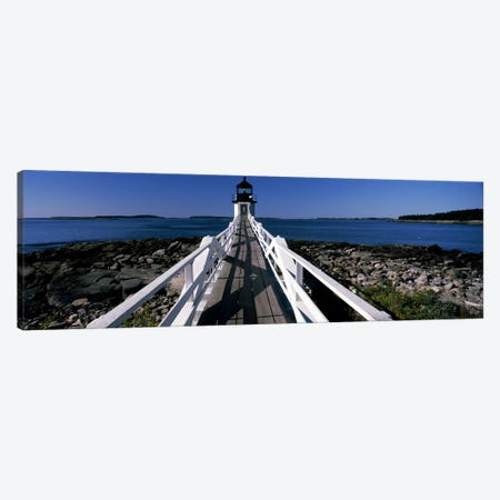 Lighthouse on the coastMarshall Point Lighthouse, built, rebuilt 1858, Port Clyde, Maine, USA Canvas Print #PIM7436} by Panoramic Images Art Print