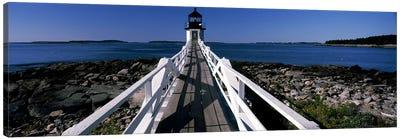 Lighthouse on the coastMarshall Point Lighthouse, built, rebuilt 1858, Port Clyde, Maine, USA Canvas Art Print