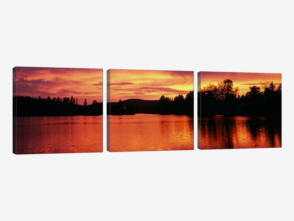 Lake at sunset, Vermont, USA by Panoramic Images 3-piece Canvas Artwork