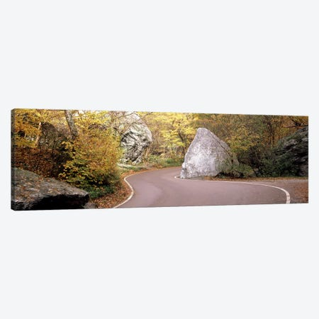 Road curving around a big boulder, Stowe, Lamoille County, Vermont, USA Canvas Print #PIM7446} by Panoramic Images Canvas Art