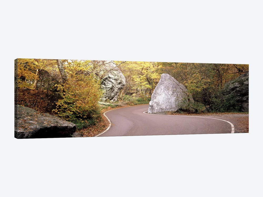 Road curving around a big boulder, Stowe, Lamoille County, Vermont, USA by Panoramic Images 1-piece Canvas Print