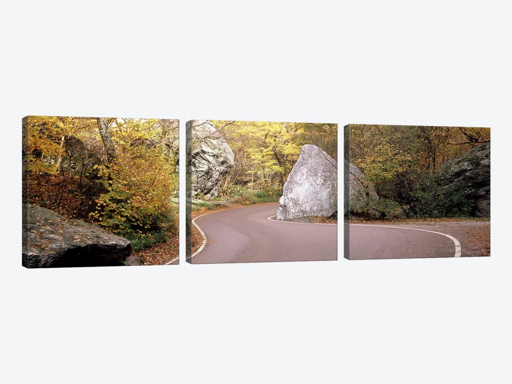 Road curving around a big boulder, Stowe, Lamoille County, Vermont, USA by Panoramic Images 3-piece Canvas Art Print
