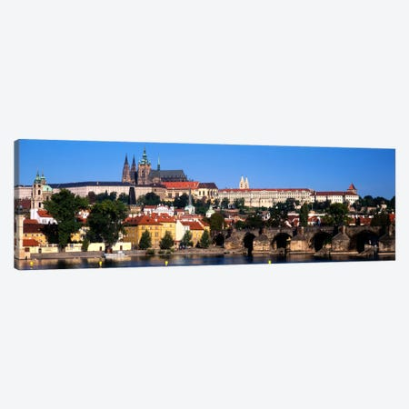 Prague Castle As Seen From The Banks Of The Vltava River, Prague, Czech Republic Canvas Print #PIM744} by Panoramic Images Canvas Wall Art