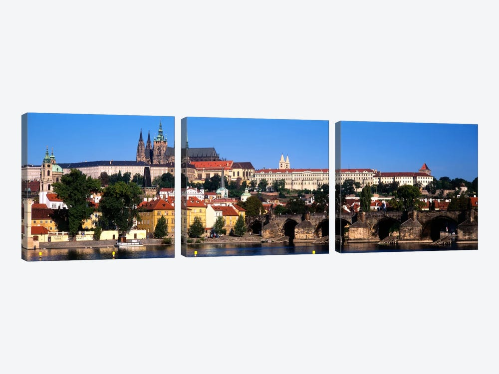Prague Castle As Seen From The Banks Of The Vltava River, Prague, Czech Republic 3-piece Canvas Print