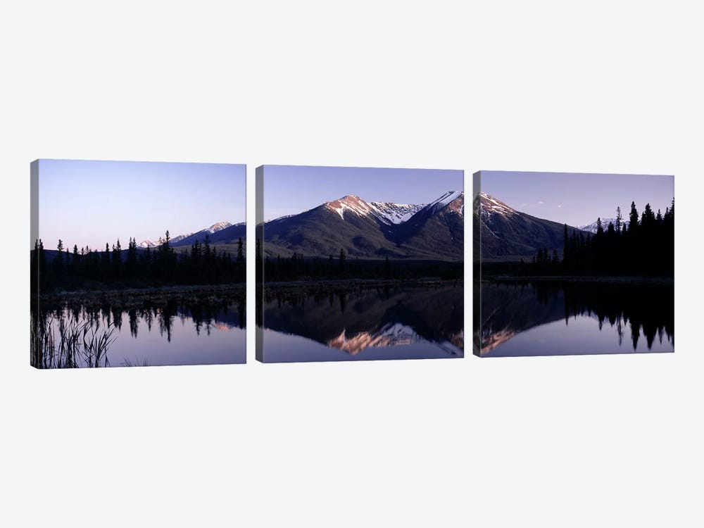 Mountain Landscape And Its Reflection, Banff, Alberta, Canada by Panoramic Images 3-piece Canvas Artwork