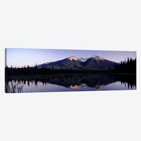 Mountain Landscape And Its Reflection, Banff, Alberta, Canada 3-Piece Canvas #PIM7452} by Panoramic Images Canvas Art