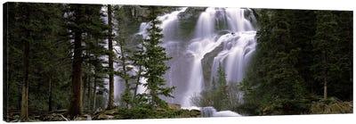 Waterfall in a forest, Banff, Alberta, Canada Canvas Art Print