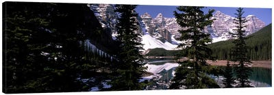 Lake in front of mountains, Banff, Alberta, Canada Canvas Print #PIM7454