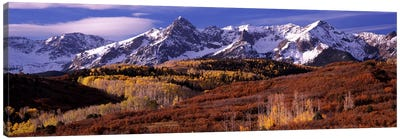 Mountains covered with snow and fall colors, near Telluride, Colorado, USA Canvas Art Print