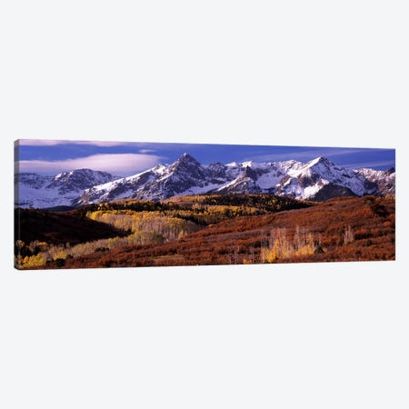Mountains covered with snow and fall colors, near Telluride, Colorado, USA Canvas Print #PIM7458} by Panoramic Images Canvas Wall Art