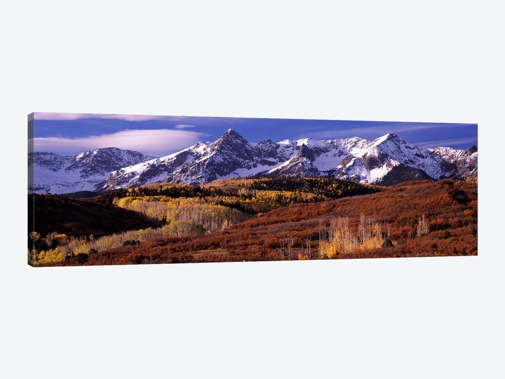 Mountains covered with snow and fall colors, near Telluride, Colorado, USA by Panoramic Images 1-piece Canvas Art