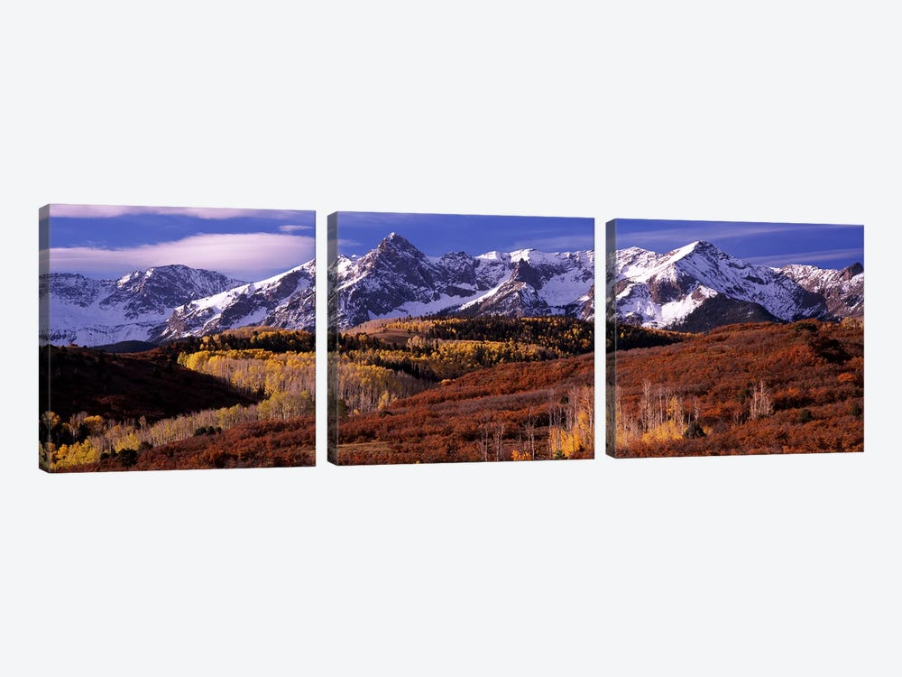 Mountains covered with snow and fall colors, near Telluride, Colorado, USA by Panoramic Images 3-piece Canvas Wall Art