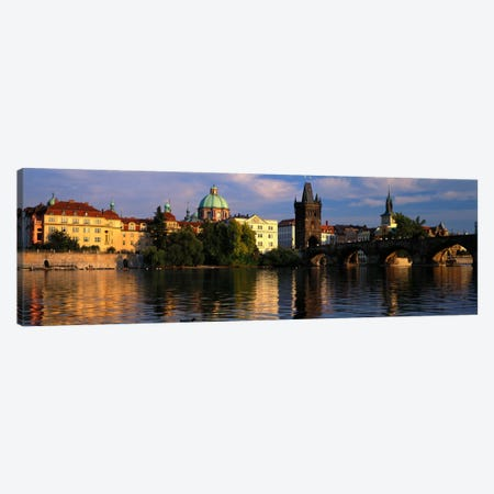 Charles Bridge Vltava River Prague Czech Republic Canvas Print #PIM745} by Panoramic Images Canvas Wall Art
