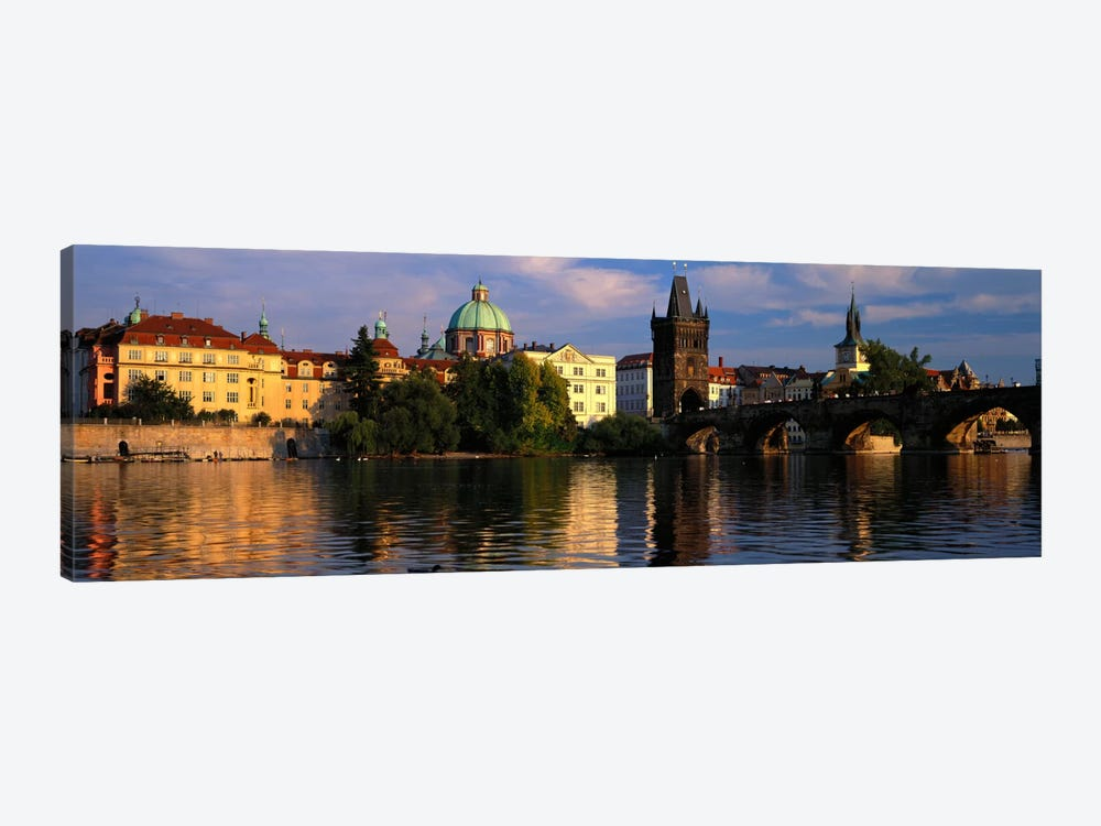 Charles Bridge Vltava River Prague Czech Republic by Panoramic Images 1-piece Canvas Artwork