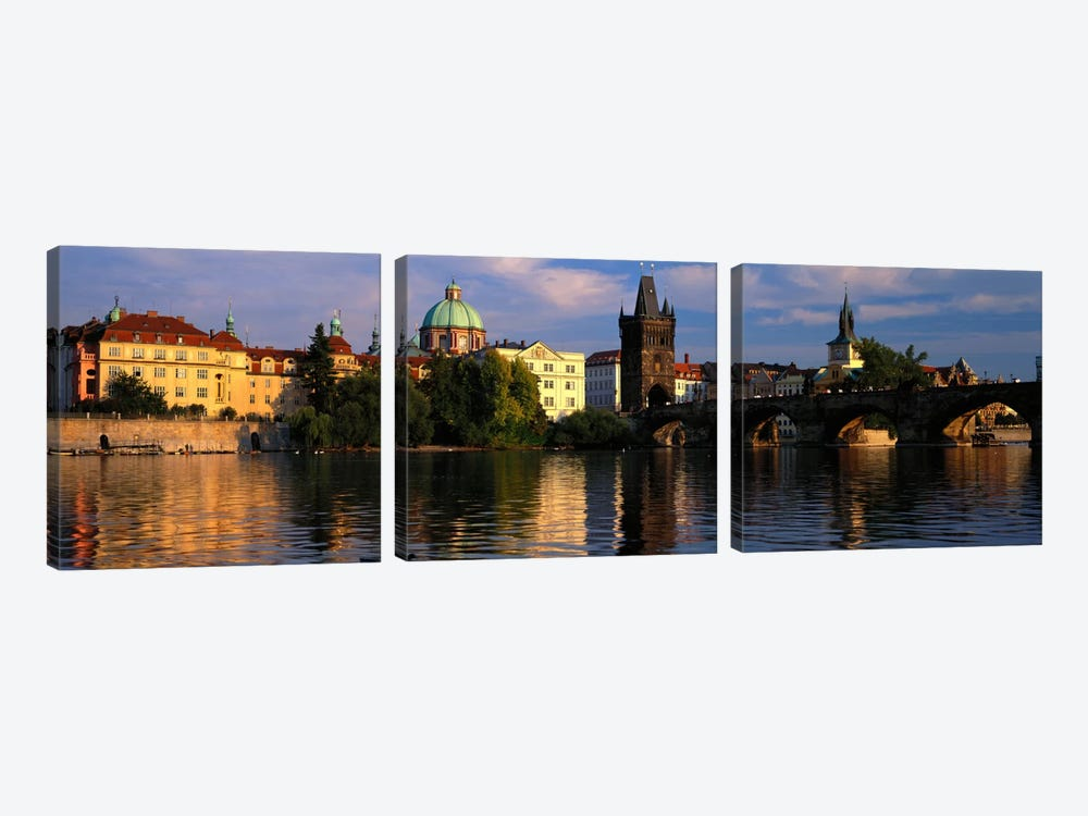 Charles Bridge Vltava River Prague Czech Republic by Panoramic Images 3-piece Canvas Wall Art