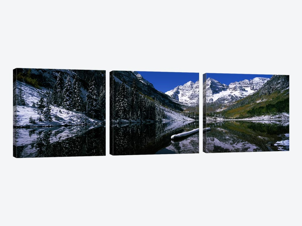 Maroon Lake & Maroon Bells, Maroon Bells-Snowmass Wilderness Area, White River National Forest, Colorado, USA by Panoramic Images 3-piece Canvas Art Print