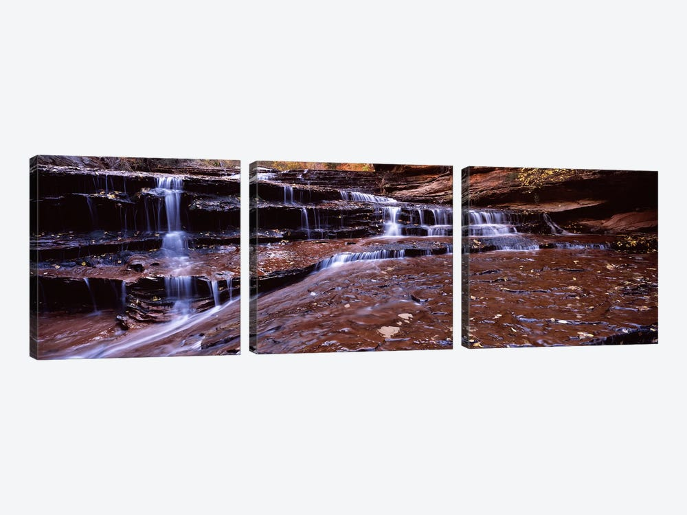 Stream flowing through rocks, North Creek, Zion National Park, Utah, USA by Panoramic Images 3-piece Canvas Artwork