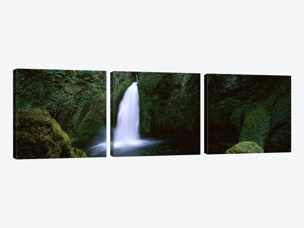 Waterfall in a forest, Columbia River Gorge, Oregon, USA #2 by Panoramic Images 3-piece Canvas Print