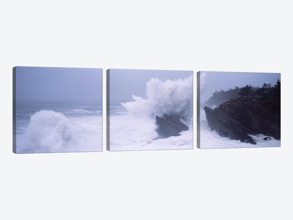 Crashing Waves Along The Coast, Shore Acres State Park, Coos County, Oregon, USA by Panoramic Images 3-piece Art Print