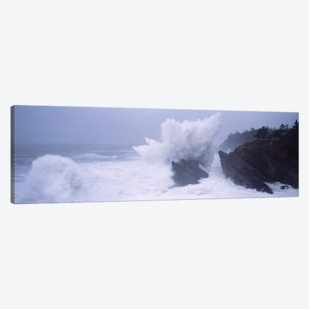 Crashing Waves Along The Coast, Shore Acres State Park, Coos County, Oregon, USA Canvas Print #PIM7516} by Panoramic Images Canvas Wall Art