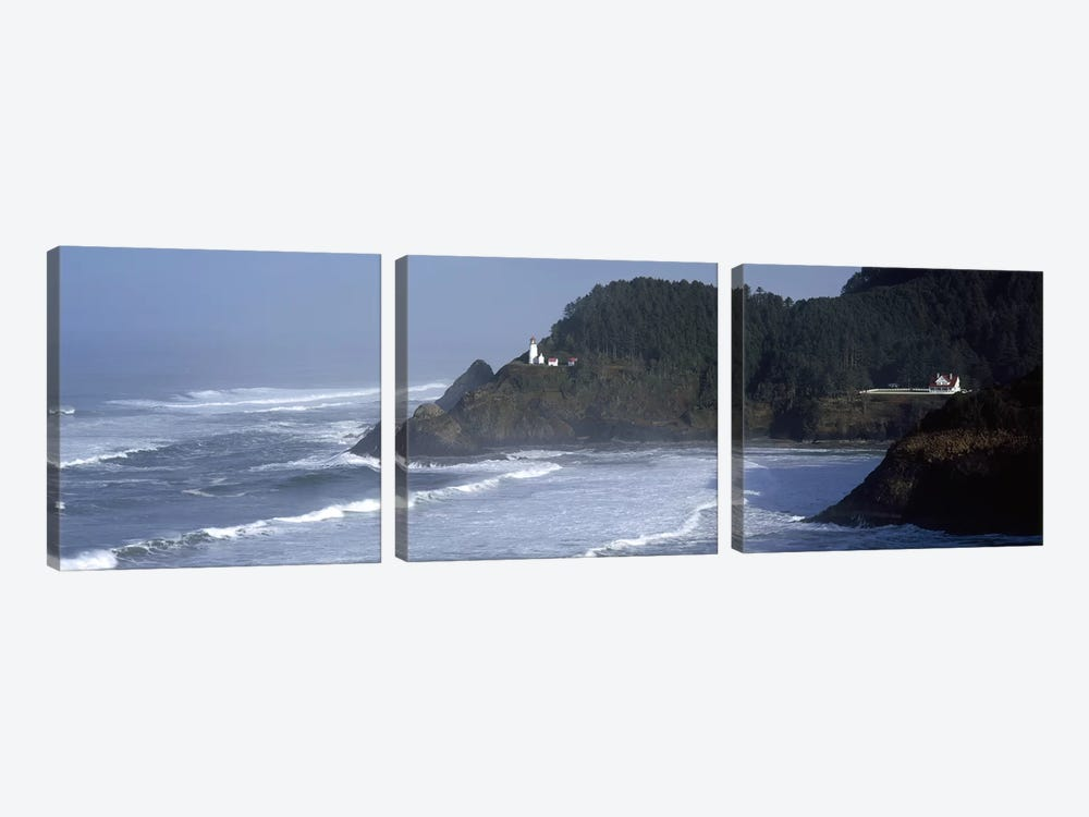 Distant View Of Heceta Head Light, Heceta Head, Lane County, Oregon, USA by Panoramic Images 3-piece Art Print