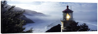 Foggy Day At Heceta Head Lighthouse State Scenic Viewpoint, Lane County, Oregon, USA Canvas Print #PIM7519