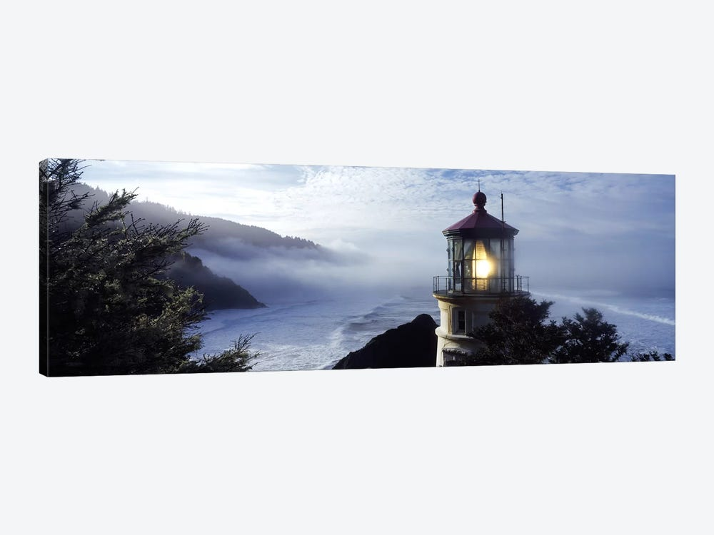 Foggy Day At Heceta Head Lighthouse State Scenic Viewpoint, Lane County, Oregon, USA by Panoramic Images 1-piece Canvas Wall Art