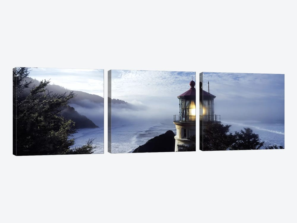 Foggy Day At Heceta Head Lighthouse State Scenic Viewpoint, Lane County, Oregon, USA by Panoramic Images 3-piece Canvas Artwork