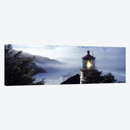 Foggy Day At Heceta Head Lighthouse State Scenic Viewpoint, Lane County, Oregon, USA 3-Piece Canvas #PIM7519} by Panoramic Images Canvas Art Print