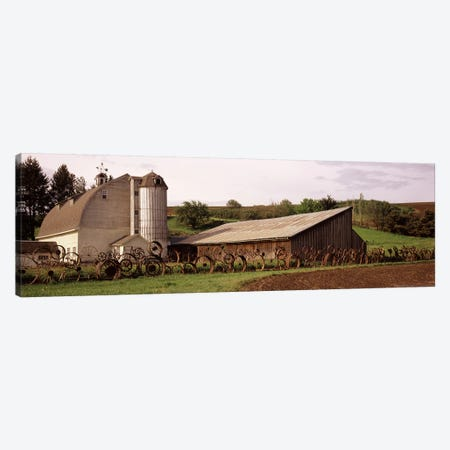 Old barn with a fence made of wheels, Palouse, Whitman County, Washington State, USA Canvas Print #PIM7526} by Panoramic Images Canvas Print