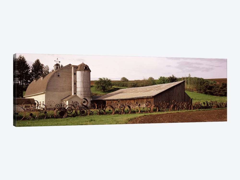 Old barn with a fence made of wheels, Palouse, Whitman County, Washington State, USA by Panoramic Images 1-piece Canvas Art