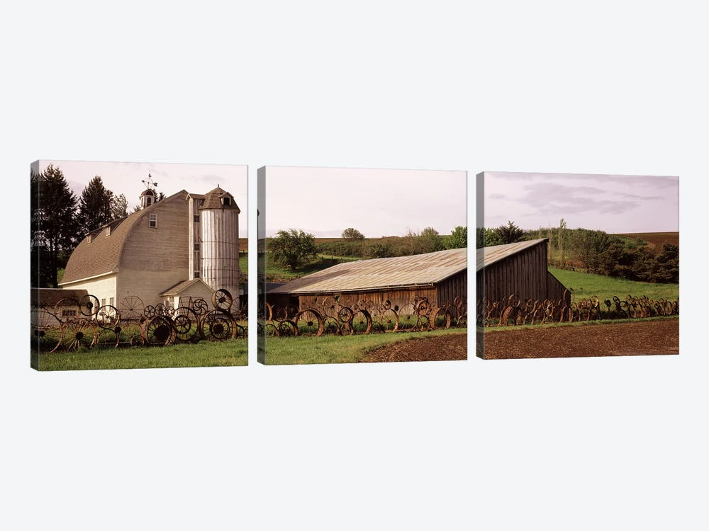 Old barn with a fence made of wheels, Palouse, Whitman County, Washington State, USA by Panoramic Images 3-piece Canvas Art