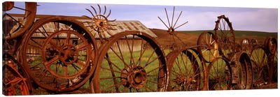 Old barn with a fence made of wheels, Palouse, Whitman County, Washington State, USA #2 Canvas Print #PIM7529