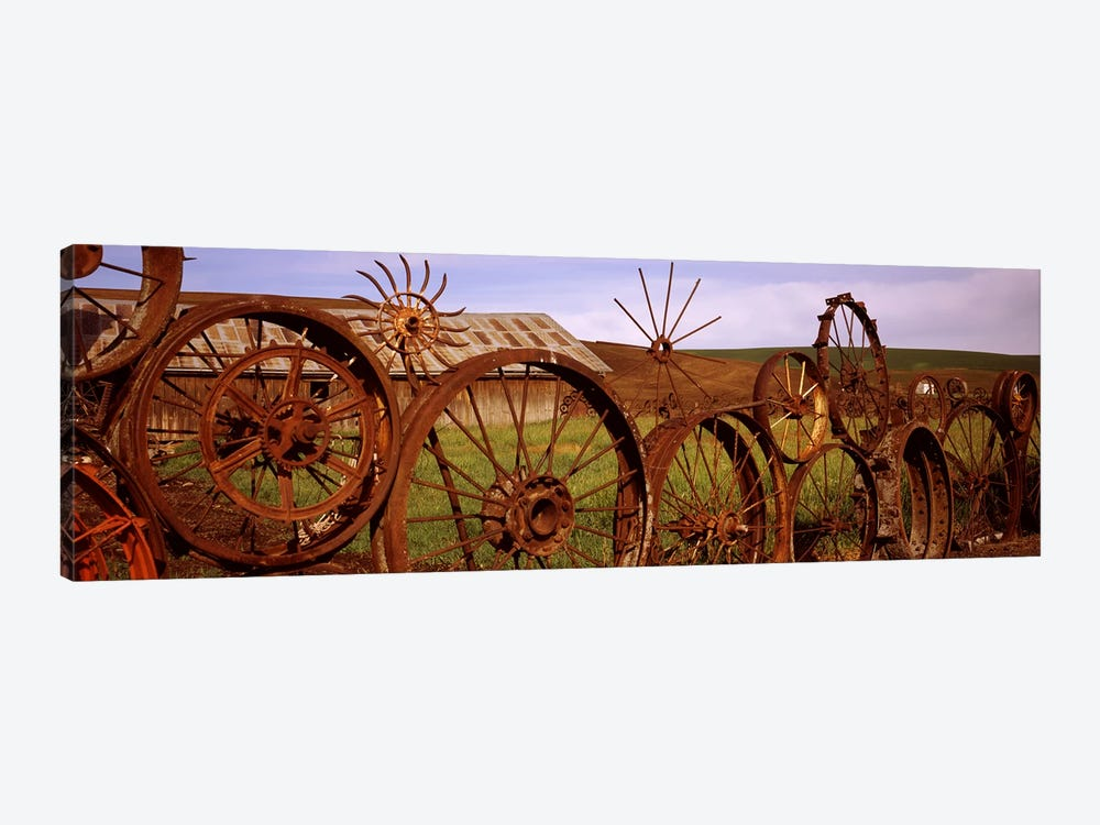 Old barn with a fence made of wheels, Palouse, Whitman County, Washington State, USA #2 by Panoramic Images 1-piece Canvas Print