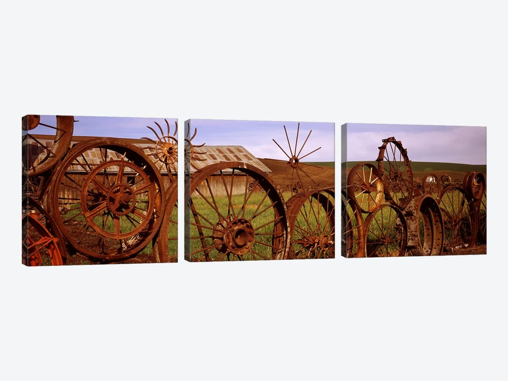 Old barn with a fence made of wheels, Palouse, Whitman County, Washington State, USA #2 by Panoramic Images 3-piece Canvas Print