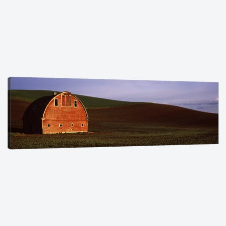Barn in a field at sunset, Palouse, Whitman County, Washington State, USA #2 Canvas Print #PIM7530} by Panoramic Images Canvas Art Print