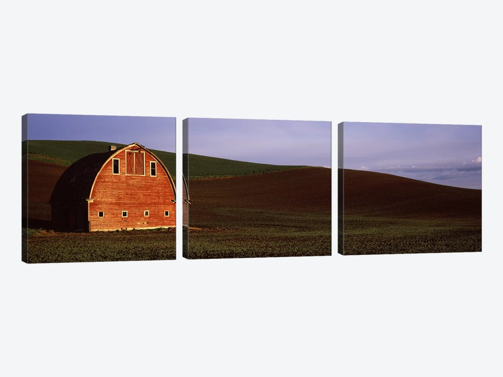 Barn in a field at sunset, Palouse, Whitman County, Washington State, USA #2 by Panoramic Images 3-piece Art Print