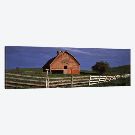 Old barn with a fence in a field, Palouse, Whitman County, Washington State, USA Canvas Print #PIM7531} by Panoramic Images Canvas Print