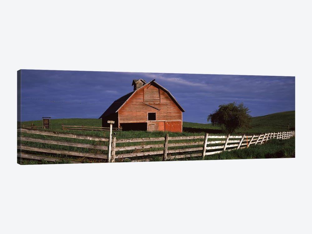 Old barn with a fence in a field, Palouse, Whitman County, Washington State, USA by Panoramic Images 1-piece Canvas Art